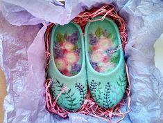 The scent of Spring handmade felt slippers