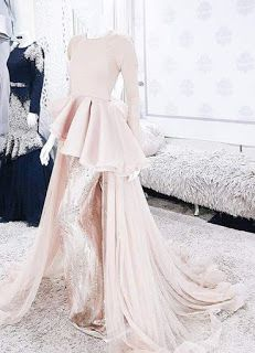 Dress brokat peach Ideas for 2019 Muslimah Wedding Dress, Muslim Wedding Dresses, Bridal Dresses, Wedding Gowns, Hijab Gown, Hijab Dress Party, Pakistani Dress Design, Pakistani Dresses, Trendy Dresses