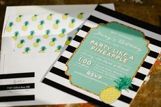 Pin for Later: A Fantastically Fruity Pineapple-Themed Birthday Bash Themed Invitations Craft your own or commission an artist to personalize your child's invites. Source: KCB Photography