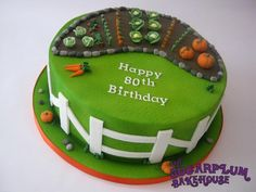 12 Inch round cake decorated with a gardening theme. Airbrushed cake decorated with handmade fondant details. Loved making those veggies! 80th Birthday Cake For Men, Garden Birthday Cake, Special Birthday Cakes, Allotment Cake, Marzipan Cake, Fondant, Dad Cake, Cupcake Cakes, Cupcakes