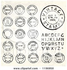 Clipart of Vintage Postmark Stamps and Letters - Royalty Free Vector Illustration by BestVector