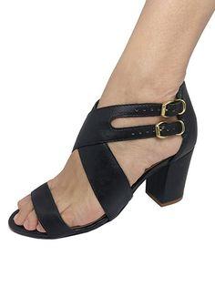 9428613c35 NR Fashion Shoes · Sandálias Verão 2019 · Sandália Salto Alto Cruzada Preta