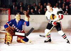 Jacques Plante & John MacKenzie Hockey Shot, Women's Hockey, Hockey Games, Hockey Players, Rangers Hockey, Goalie Mask, New York Rangers, Photo Hosting, Sports Pictures