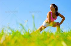 Athletic Woman Exercising (adult, alone, athlete, athletic, attractive, beautiful, beauty, blue, bright, caucasian, exercise, female, fit, fitness, girl, grass, green, health, healthy, horizon, human, jogger, lifestyle, nature, outdoor, outside, park, person, practice, pretty, recreation, runner, sky, slim, sport, spring, stretch, summer, sunny, train, training, vitality, wellbeing, wellness, white, woman, workout, young)