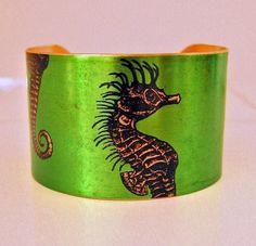 Seahorse Vintage style brass cuff bracelet Free Worldwide Shipping