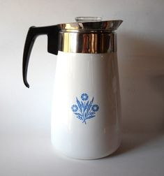 Corning Ware Coffee Pot, the only coffee pot I remember my mom having when I was growing up