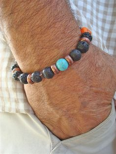 Men's Bracelet with Semi Precious Stones Howlite by tocijewelry