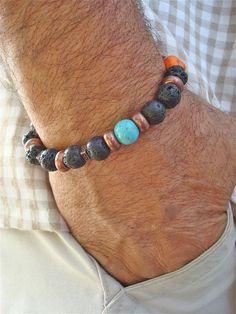 Men's Bracelet with Semi Precious Stones Howlite by tocijewelry