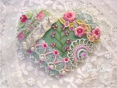 Crazy quilt pin with pretty vintage trims