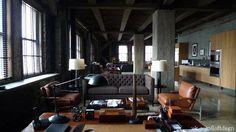 #loft #loft #loft living room brick wall
