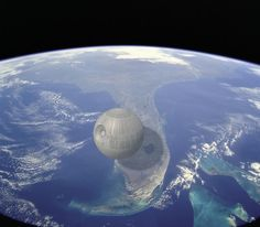 """The Death Star's estimated width is around 99 miles across, or around 1/4th the length of Florida."""