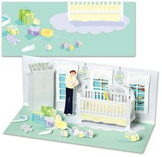 Baby's Room Panoramic Pop Up New Baby Greeting Card