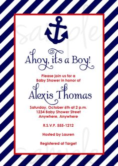 nautical, baby shower invitations, ahoy it's a boy, crab, red, Baby shower invitations