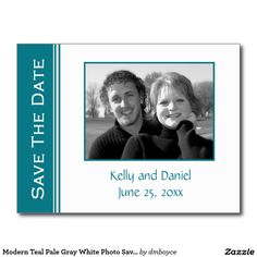 Modern Teal Pale Gray White Photo Save The Date Postcard