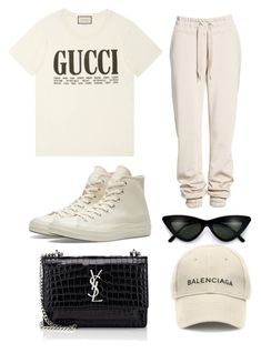 """""""Sans titre #104"""" by stylebymiaa ❤ liked on Polyvore featuring Ivy Park, Converse, Gucci, Yves Saint Laurent and Balenciaga"""