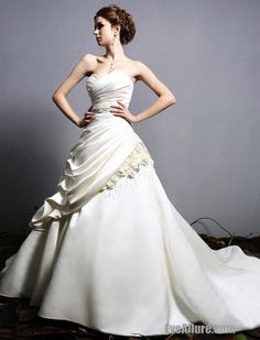 Ball Gown Sweetheart Strapless Catheral/Royal Train Satin Ivory Wedding Dress with Natural Waist Inspired by Eden 2409 US$399.99