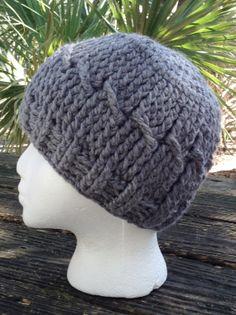 Crocheted Hat Beanie Ladies Womens Gray by RaeOfLight on Etsy, $15.00