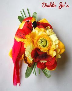Tropical Red Parrot Hair flower, Rockabilly, Summer Alternative hair, Pin Up by DiabloJos on Etsy