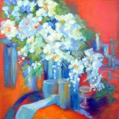 """Saatchi Art Artist Aase Lind; Painting, """"STILL LIFE on Red"""" #art More info: www.aaselind.com www.aaselind.dk"""