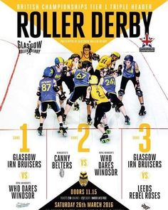 Are you ready for more British Champs!? Join us at The Arc Health & Fitness on 26th March 2016 and see GRD @royalwindsorrg @nrgrollergirls and @leedsrollerdolls!  Tickets are 10 in advance or 12 on the door! Purchase online here: http://ift.tt/1YK1gED  #britishchamps #rollerderby #glasgow #leeds #windsor by wearegrd