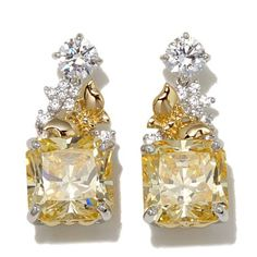 "Victoria Wieck 12.33ctw Absolute™ Canary-Colored and Clear ""Butterfly"" 2- - 8134218 