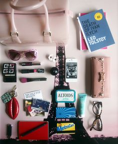 Inside Nicolette Mason's bag. - Yep, this is what my purse looks like :)