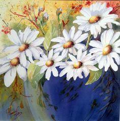 Gaétane Lessard, Canadian aquarellist born in Charlesbourg, Quebec in 1950 Watercolor Cards, Watercolor Print, Watercolor Flowers, Watercolor Paintings, Watercolours, Art Floral, Daisy, Wonderful Flowers, Funny Art