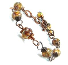 Wire Wrapped Bracelet, Lampwork Jewelry, Copper Bracelet, Earthy, Handmade Jewelry, Rust, Caramel