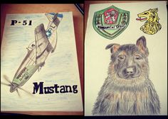 Birthday cards P-51 Mustang and German Sheperd puppy