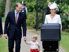 Mandatory Credit: Photo by REX Shutterstock (4895782l) Catherine Duchess of Cambridge, Prince William, Prince William, Princess Charlotte of Cambridge and Prince George arrive at the Church of St Mary Magdalene The Christening of Princess Charlotte at St. Mary Magdalene Church in Sandringham, Britain - 05 Jul 2015