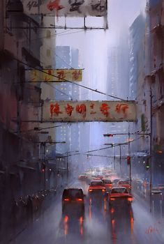 Hong Kong by 伊凡 小红花 > love the atmosphere in this!  #landscapeart #conceptart