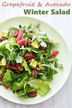 Grapefruit and Avocado Winter Salad Recipe with Arugula (dairy-free, gluten-free, vegan, healthy!)