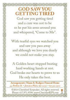 Funeral / Memorial Prayer Card Back Funeral Quotes, Funeral Prayers, Funeral Cards, Prayer Cards For Funeral, Funeral Poems For Grandma, Memorial Cards, Funeral Memorial, Memorial Poems, Remembrance Quotes