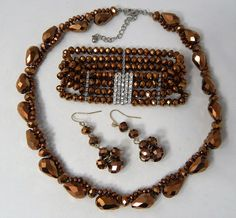 Estate Bronze Metallic Faceted Glass Bead & Rhinestone Necklace Bracelet Set