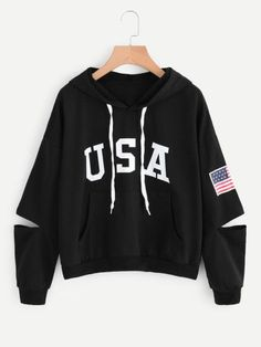 Shop Flag Print Cut Out Sleeve Hooded Sweatshirt online. SheIn offers Flag Print Cut Out Sleeve Hooded Sweatshirt & more to fit your fashionable needs. Hoodie Sweatshirts, Pullover Hoodie, Sweatshirts Online, Printed Sweatshirts, Sweater Hoodie, Outfits For Teens, Casual Outfits, Fashion Outfits, Usa Shirt