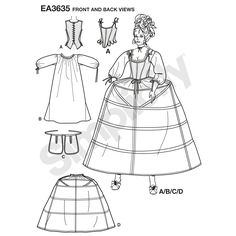 Misses' costume 18th century undergarments. Once selected, we custom print pattern and instructions on one sheet of durable premium paper. Pattern is then hand packaged and shipped directly to your doorstep.
