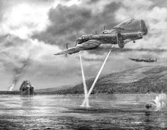 An artist's impression of Lancaster bombers from the RAF's No 617 Squadron attacking the Moehne dam in Nazi Germany using one of Barnes Wallis's bouncing bombs during the historic Dambuster's raid...