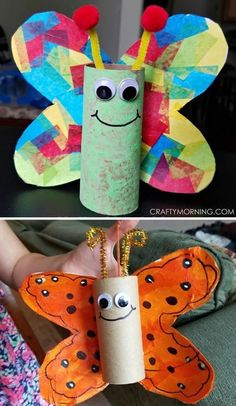 Cardboard tube butterfly craft for kids to make! Perfect for spring or summer. Use toilet paper rolls or paper towel rolls. is for butterfly crafts Cardboard Tube Butterfly Kids Craft - Crafty Morning Spring Crafts For Kids, Diy And Crafts Sewing, Crafts For Kids To Make, Easy Crafts For Kids, Spring Crafts For Preschoolers, Children Crafts, Simple Crafts, Kids Diy, Kids Arts And Crafts