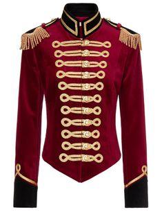 Red Velvet Military Jacket | Pinky Laing | Avenue32