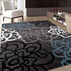Contemporary Modern Floral Flowers D.Grey Area Rug (7u002710 X 10u00272) (108 D.Gray  8u0027X10u0027), Size 8u0027 X 10u0027 (Polypropylene, Abstract)