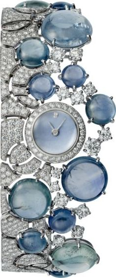 CARTIER High Jewelry visible hour watch Quartz movement, white gold, sapphires, diamonds - In case you were wondering which wrist your watch belongs on. Cartier Jewelry, Sapphire Jewelry, Diamond Jewelry, Jewelry Watches, High Jewelry, Luxury Jewelry, Bling Jewelry, Jewelry Accessories, Timex Watches