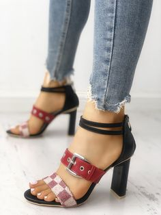 25ba1a2b714034 Shop Grid Buckled Zipper Chunky Heeled Sandals – Discover sexy women  fashion at Boutiquefeel Heeled Sandals