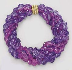 A SIX-STRAND TOURMALINE AND AMETHYST NECKLACE, BY VERDURA