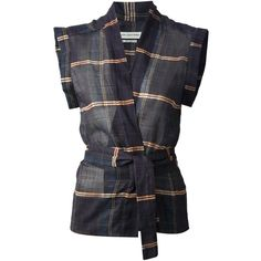 ISABEL MARANT ETOILE plaid shirt ($190) ❤ liked on Polyvore featuring tops, jackets, shirts, tartan shirt, plaid top, v-neck tops, checkered shirt and v neck wrap top