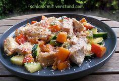 Hähnchen – Kürbis – Pfanne low carb Auch bei diesem Gericht kann man die Zutaten austauschen. Pute statt Hähnchen, Kohlrabi statt Zucchini… Zutaten für 1 Person: 150 g Hähn…