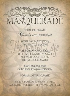 Masquerade Vintage Steam Punk Invitation