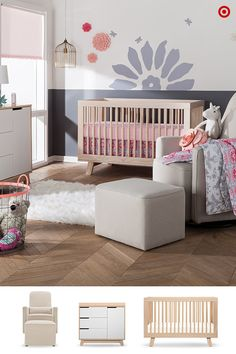 Create a sweet and modern nursery for your little girl with the Sabrina Soto Lola Bedding collection. This beautiful collection features soft gray florals and animal silhouettes one side, and a tile print with pops of berry-colored blooms. This soft, cozy 3-piece crib bedding set includes a quilted comforter, fitted crib sheet and crib skirt. Plus you can add extra baby blankets, changing pad covers and fitted crib sheets in coordinating colors and patterns.