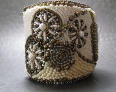 Bead Embroidered Cuff with Fossilized Coral Cab by BeadsByTamara