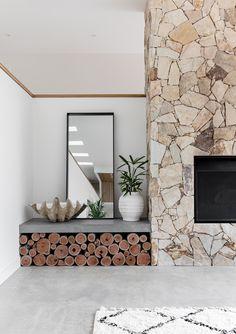 Modern Stone Fireplace, Natural Stone Fireplaces, Concrete Fireplace, Home Fireplace, Fireplace Design, Stone Fireplace Wall, Natural Stone Wall, Concrete Stone, Polished Concrete