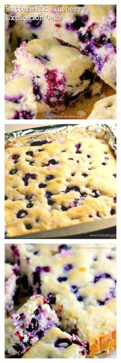 Buttermilk Blueberry Explosion Cake! via @https://www.pinterest.com/BaknChocolaTess/